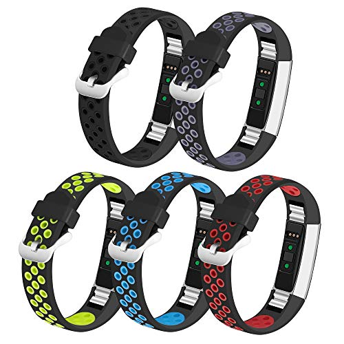 iHillon Compatible with Fitbit Alta/Alta HR/Fitbit Ace Bands, 5-Pack Two-Toned Breathable Silicone Sport Replacement Wristbands with Metal Buckle for Women Men Kids