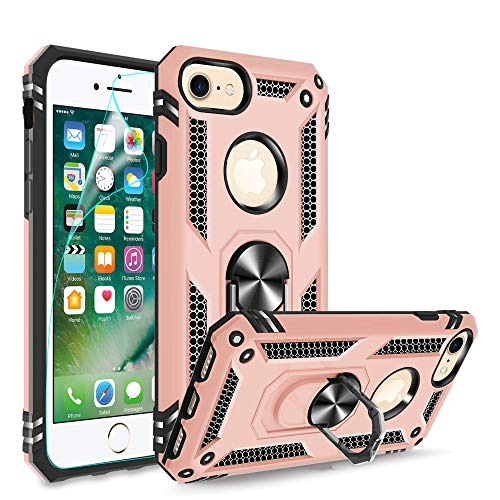 Compatible for iPhone 8 Case, iPhone 7 Case, iPhone 6/6S Case with HD Screen Protector, Gritup Military-Grade Shockproof Phone Case with Magnetic Kickstand Ring for iPhone 6/6S/7/8 Rose Gold