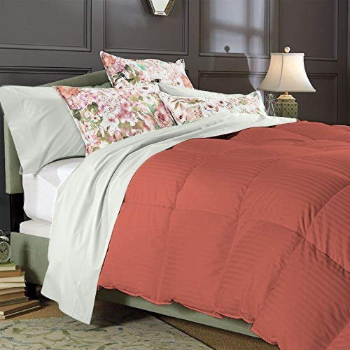 Best Bedding 1000 Thread Count Super King Size Alternative 1 Piece Comforter with 100% Natural Egyptian Cotton Stripe Cover - Brick Red