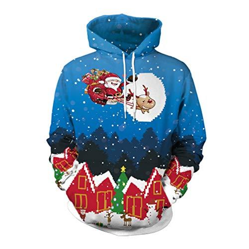 Fashspo Unisex 3D Printed Reindeer Santa Claus Ugly Christmas Night Sweatshirt Hoodies Kangaroo Pocket
