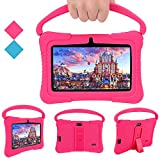 Tablet PC para niños, Tablet PC Androide Veidoo de 7 Pulgadas, 1GB / 16GB, Pantalla IPS de 1024x600, aplicación educativa, Linda Tablet PC con Funda de Silicona (Rosa)