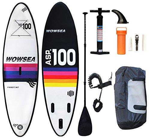 WOWSEA Tabla Hinchable Paddle Surf/ SUP Paddel Surf con Inflador, Mochila, Kit de Reparación, Remo, Correa Elástico Flexible - 305 * 80 *12cm