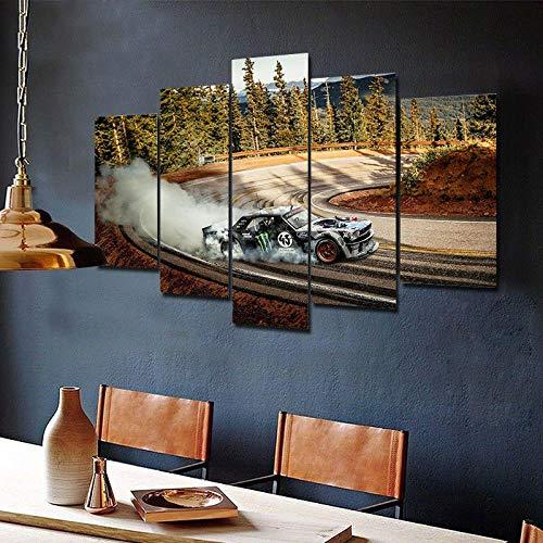 QWASD Ken Block Hoonicorn Mustang 5 Piezas De Arte De Pared Lienzo Pintura Cartel Impresión De Lienzo - Wall Lona Paintings - HD Escena Pared Arte Pintura,5 Piezas Lienzo Decoración
