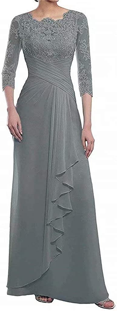 Women's Sheath Lace Mother of The Bride Dresses for Wedding 3/4 Sleeves Long Formal Evening Gowns