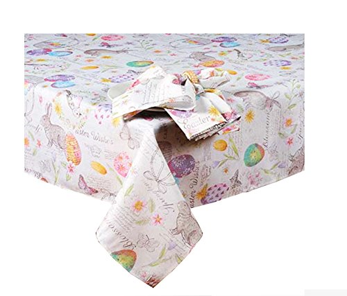 Newbridge Easter Wishes and Blossoms Print Fabric Tablecloth (60 x 102 Rectangle/Oblong)
