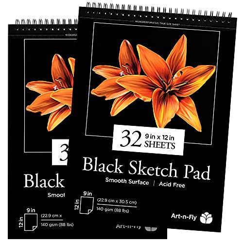 2 pack - Taccuino Bozze Nero : Blocco di Solida Carta Perforata Nera su Spirale – Taccuino da Bozza con 2 x 32 Fogli