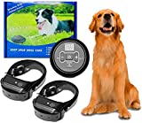 Wireless Electric Dog Fence System, dog fence outdoor Anti Barking Dog Collar Pet Containment System,Waterproof and rechargeable, Beep, Prevent dogs from barking, Safe for Pets Indoors&Outdoors (2Dog)