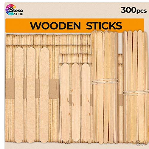 Jumbo Craft Bulk Popsicle Mixed Sizes Assorted Multi Mini Large Wood Stick Strips Wax Popsicle Stick Craft Supplies 300pcs Premium Quality Craft for Kids