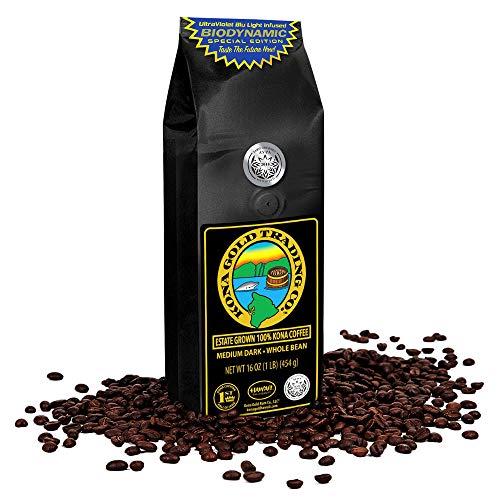 Kona Coffee Whole Beans by Kona Gold Rum Co. - Medium/Dark Roast Extra Fancy – 100% Kona Coffee...