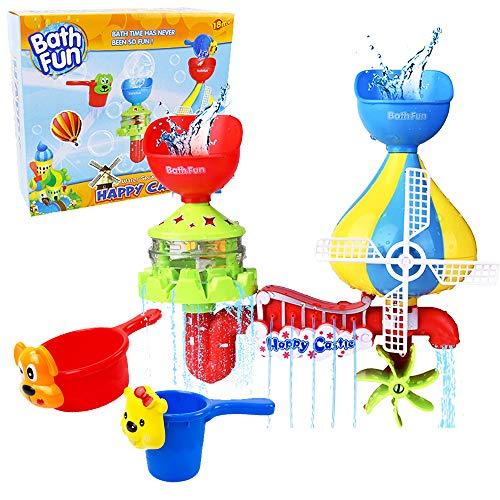 EPCHOO Baby Badespielzeug,Wasser Dusche Badewannenspielzeug Schloss Wasserspray Spielzeug mit 2 Nesting Cups Windmühle Wasserspielzeug für Kinder ab 1 Jahr 2 Jahre