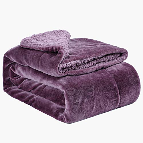 Argstar Sherpa Fleece Blanket Throw Size Violet for Bed Or Couch, Plush Fuzzy Soft Warm Luxury Berber Fleece Blankets, Perfect for Kid & Adult.
