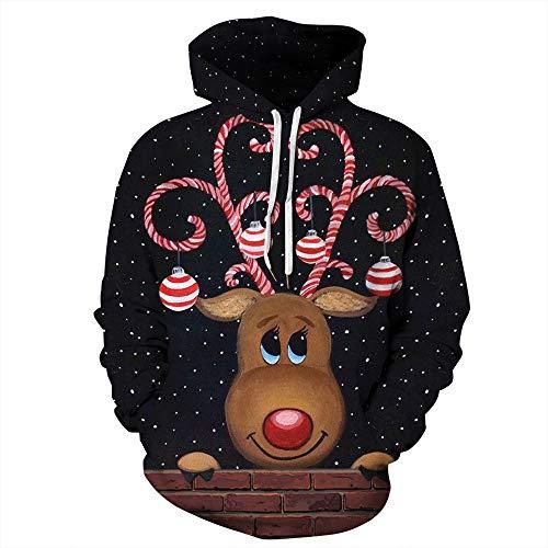 SHUAIFA Mens Womens 3D Funny Print Christmas Elk Hoodie Sweatshirts Casual Printed Kangroo Pocket Pullover XL