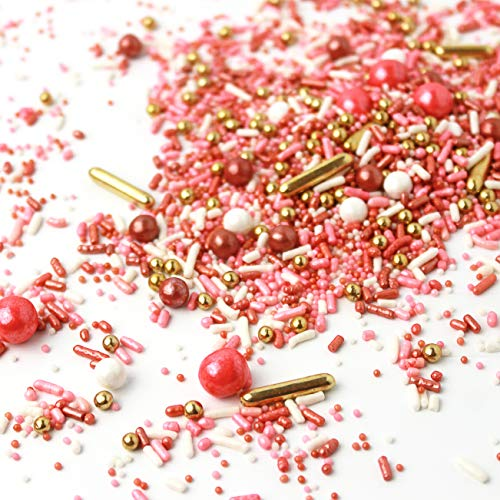 Vintage Rose Gold| Wedding Bridal Shower Anniversary Valentine's Day Colorful Candy Sprinkles Mix Baking Edible Cake Decorations Cupcake Toppers Cookie Decorating Ice Cream Toppings, 2OZ(sample size)
