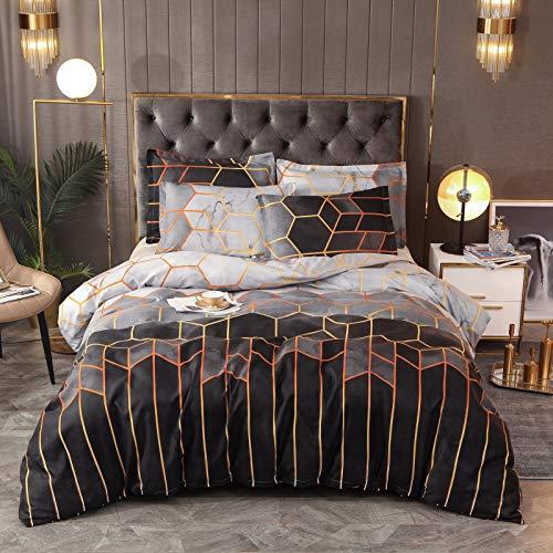 QIAOJIN Juego de ropa de cama con estampado geométrico de mármol, estampado geométrico de prisma, funda nórdica de microfibra con cremallera, para hombres y mujeres (c,260 x 230)