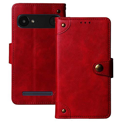 Dingshengk Retro Flip Rot Echt Leder Tasche Hülle TPU Silikon Für Doro 8035 Lederhülle Handyhülle Schutz Handytasche Handy Etui Brieftasche Cover Hülle Abdeckung