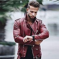 S-5XLMENレザージャケットプラスサイズのメンレザージャケットメンズ長袖スタンドカラー秋のジャケット冬レザーシッパーコートブラック、ワインレッド,Wine red,3XL