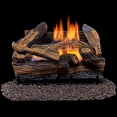 Duluth Forge Ventless Dual Fuel Gas Log Set-18 in, Split Red...