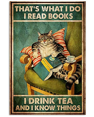 AMD PRINT Cat Poster Thats What I Do Read Books Coffee Drink Tea Know Things Wall Art Hanging Painting Paper Photography Watercolor Living Classroom Home Decor No Frame