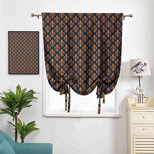 Dasnh Polyester Roman Curtain Western Culture Inspired Symbol Ornamental W36 x L72 Rod Pocket Panel for Small Window