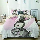 Juego de funda nórdica beige, dibujo artístico de un conejito joven con su mamá, tema del feliz día de la madre, juego de cama decorativo de 3 piezas con 2 fundas de almohada, fácil cuidado, antialérg