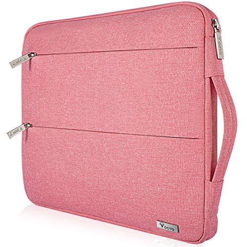 Voova Laptop Hülle Tasche Tablet 11 11.6 12 Zoll mit Griff,wasserdichte Laptoptasche 12 Zoll Sleeve für Surface 7 6/Chromebook/MacBook air/IPad 12.9 mit 2 Taschen,Notebook Laptophülle Case-Pink Frau