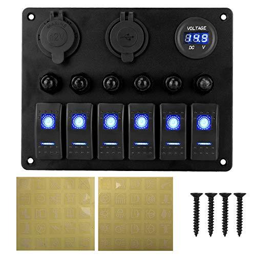 NOPNOG Panel basculante de 6 marchas, interruptor de potencia para barco de coche, dos puertos USB, voltímetro digital, CC 12 V/24 V (azul)