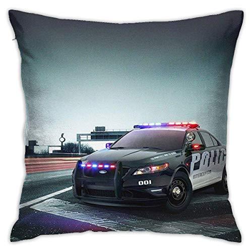 Awesome City Police Car EE. UU.,América,niños,diversión,Suave,Decorativo,Cuadrado,Fundas de Almohada,Juego,Funda de cojín para sofá,Dormitorio,Coche,18 x 18 Pulgadas,45 x 45 cm