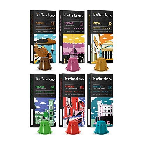 Nespresso, 60 Kaffeekapseln mit dem Nespresso kombpatible - Il Caffè Italiano - Tasting-Set mit verschiedener Kaffeeintensität