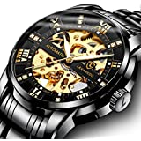 Mens Watch Black Mechanical Stainless Steel Skeleton Waterproof Automatic Self-Winding Roman Numerals Diamond Dial Wrist Watch