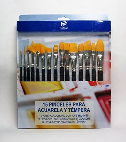 Van Gogh - Set 15 Pinceles Cortos Para Acuarela Y Témpera De Bolsillo Van Gogh Azul