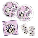 Procos 10132628 Disney - Juego de Accesorios de Fiesta (ratón, Unicornio, compostable), diseño de Minnie Mouse