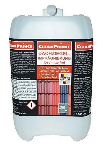 CleanPrince 5 Liter Dachziegelimprägnierung Dachziegel-Imprägnierung Dachimprägnierung Dachversiegelung lösemittelfrei Versiegelung Schutz Ziegel Dachziegelschutz Schutzanstrich
