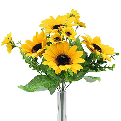XDgrace Artificial Sunflower Bouquet, 2 Bunches Per Pack, Waterpoof Yellow Fake Sunflowers Decor for Home and Garden Wedding