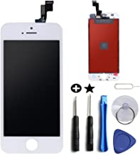 for White iPhone 5S 4.0 inch Screen Replacement Retian LCD Touch Screen Digitizer Fram Assembly Full Set with Tempered Glass Screen Protector + Tools + Instructions by Brinonac
