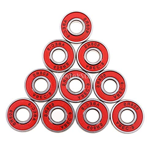 10 piezas ABEC-9 608RS Rodamientos de rueda de patín de ruedas en línea Scooter Skateboard Longboard Seal Rodamientos de bolas rojo
