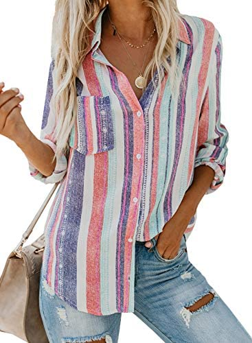 Chase Secret Women Casual Cuffed Long Sleeve Button up V Neck Tunic Shirts Top hite Large product image