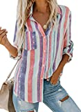 Chase Secret Women Casual Cuffed Long Sleeve Button up V Neck Tunic Shirts Top hite XX-Large