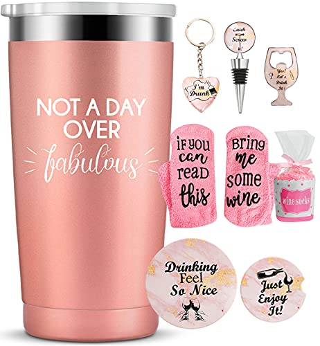 Not A Day Over Fabulous -Funny Insulated Tumbler Mug with Straw and Lid 21st 30th 40th 50th 60th 70th 75th Birthday Gifts for Women Her Mom Grandma Wife Daughter Sister Friend 20 Ounce Rose Gold