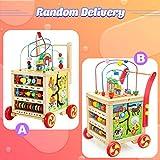 trotteur bebe jouets en bois cube d'activité pour fille garçon 1 2 3 ans, jouets porteur bebe trotteur bébés Éducatifs 7 en 1 premiers pas