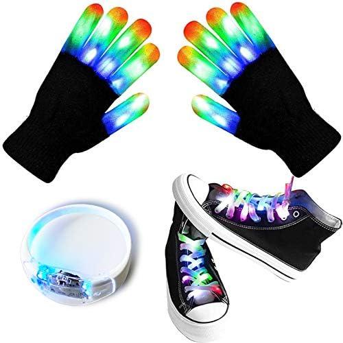 Led Finger Gloves Led Gloves LED Shoelaces Set Light Up Gleamy Bracelet Toys for Costume Party product image