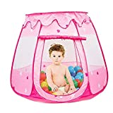 Folding Pink Princess Play Tent Toddler Ball Pits, Girl Toys Gifts Easy Pop Up Indoor and Outdoor Use (Balls not Included)