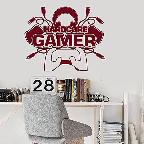WERWN Hardcore Gamer Boy Pegatinas de Vinilo de Pared Dormitorio de los niños decoración de la Sala de Juegos Juego de computadora Joystick decoración de la Pared Pegatinas Creativas