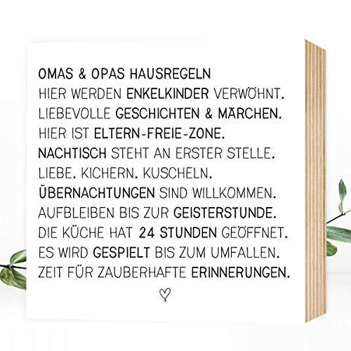Wunderpixel® Holzbild Oma & Opa - liebe Hausregeln - 15x15x2cm zum Hinstellen/Aufhängen, echter Fotodruck mit Spruch auf Holz - schwarz-weißes Wand-Bild Aufsteller Zuhause Dekoration oder Geschenk