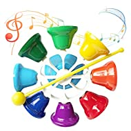 Outgeek Hand Bell Set, Musical Hand Bell for Kids 8 Note Diatonic Metal Hand Bells Set Musical Hand Percussion Bell Instrument Toy for Festival Musical Teaching Family Party Kindergarten for Kids