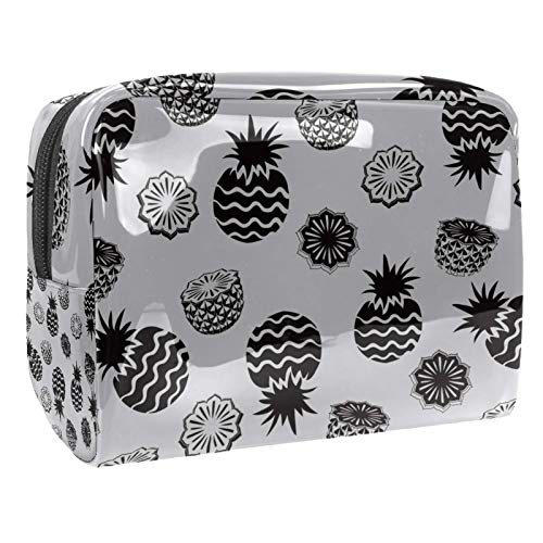 Bolsa de maquillaje portátil con cremallera, bolsa de aseo de viaje para mujeres, práctica bolsa de almacenamiento cosmético, piña gris