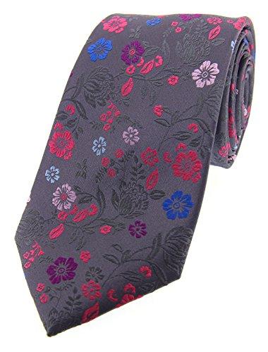Soprano Posh & Dandy Cravate en soie de luxe avec fleurs multicolores Gris