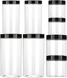 Aitsite Vaso de plástico con Tapa Botes de Polietileno Alimentario Recipiente Set con Tapa de Rosca para Alimentos Transp...