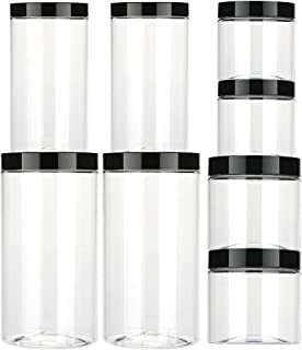 Aitsite Bocaux en Plastique 8 Pcs, Bocal de Stockage, Récipient de Stockage en Plastique Récipient de Stockage de Grains P...