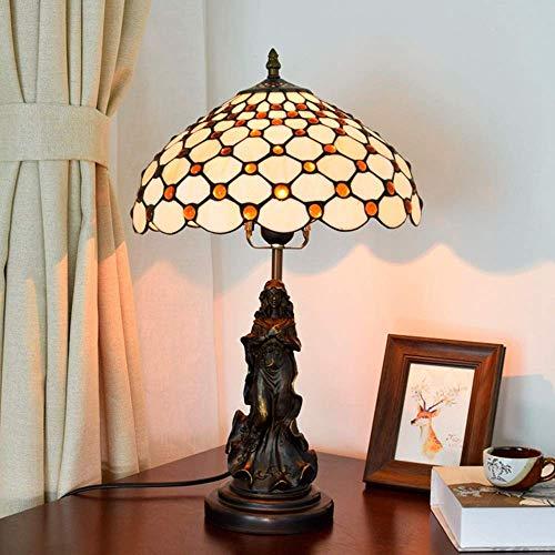 JKUNYU - Lámpara de mesa de cristal de color marrón y amarillo, estilo Tiffany, estilo vintage, 30 x 30 x 50 cm, elegante