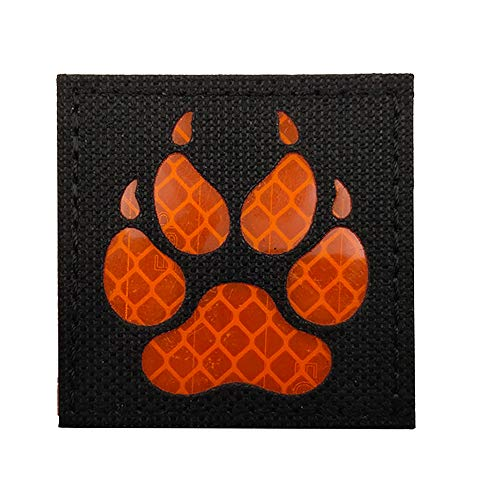Reflective Infrared IR K9 Dog Handler Paw K-9 2x2 Tactical Morale Hook and Loop Fastener Patches